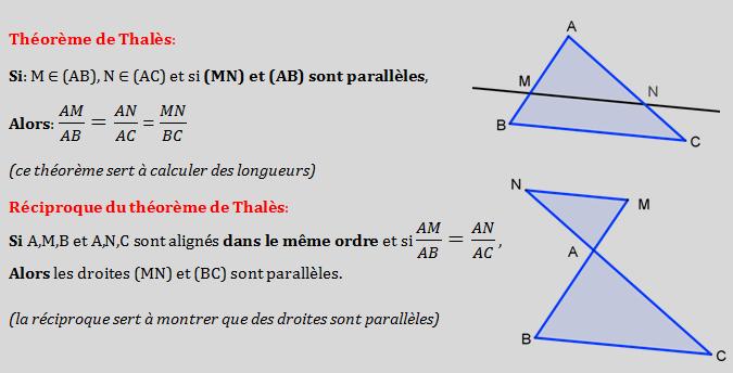 Devoir 3 mathématique , le théoreme de Thalès et sa réciproque 3ème Mathématiques